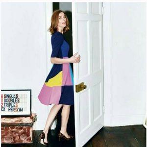 Boden Alice Ponte Dress Navy Colorblock Size 14R